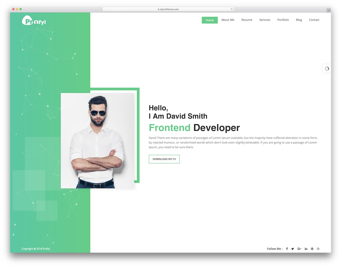 profyl resume website template