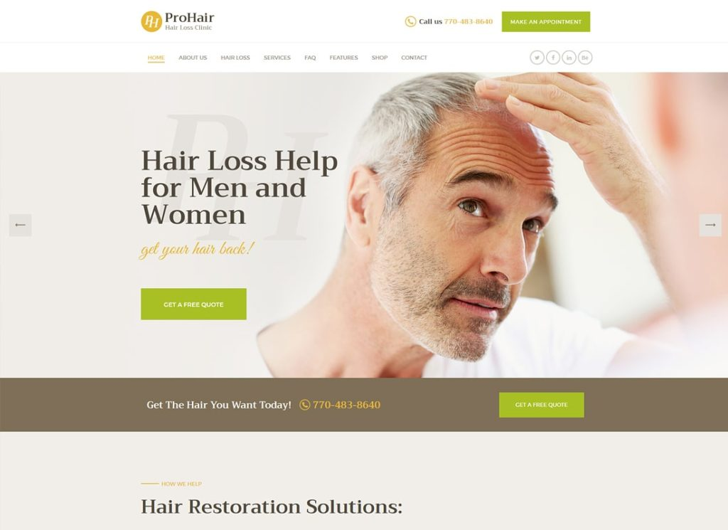 ProHair | Hair Loss Clinic & Cosmetology WordPress Theme