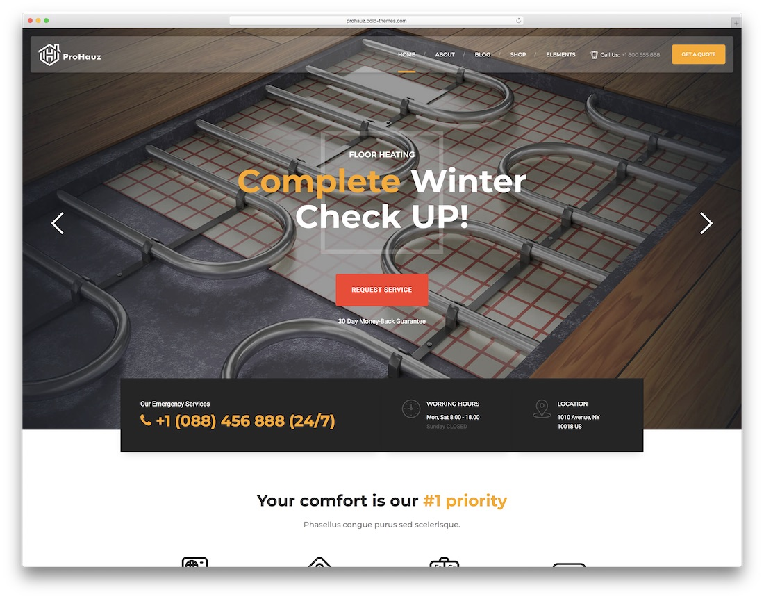 prohauz wordpress theme for home maintenance services