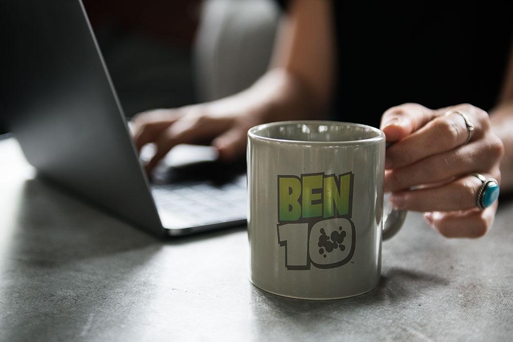 promotional mug mockup on a desk