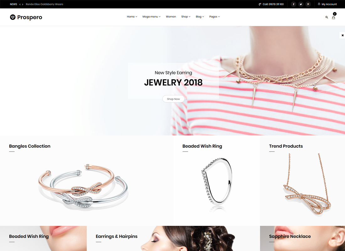 Prospero | Fashion Jewelry Watch and Glasses WooCommerce WordPress Theme