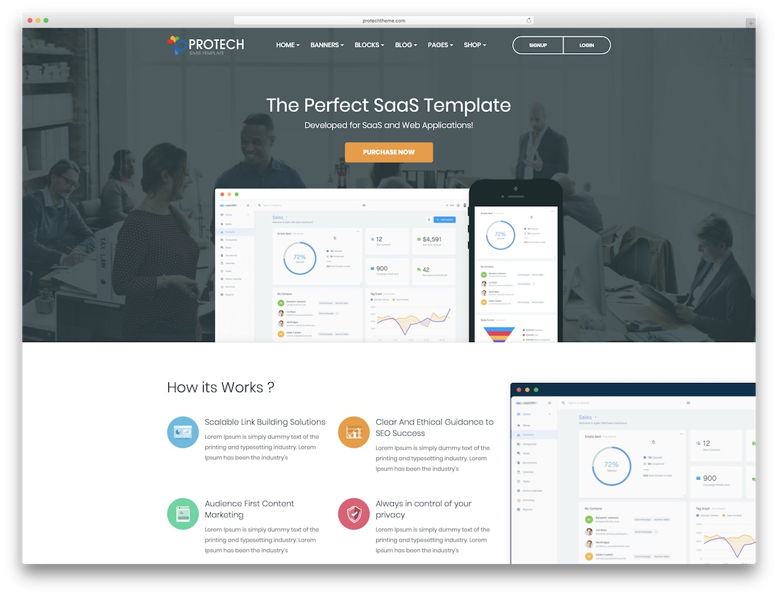 protech saas software company website template