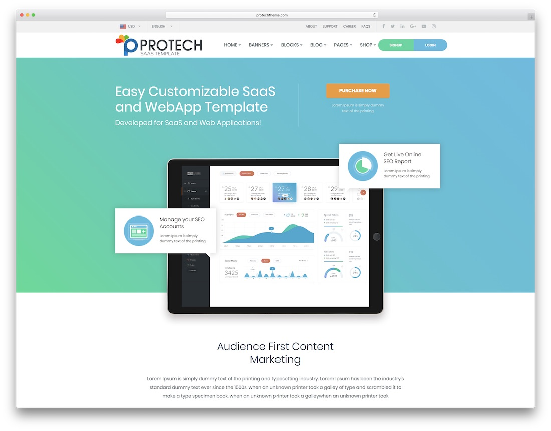 protech saas technology website template