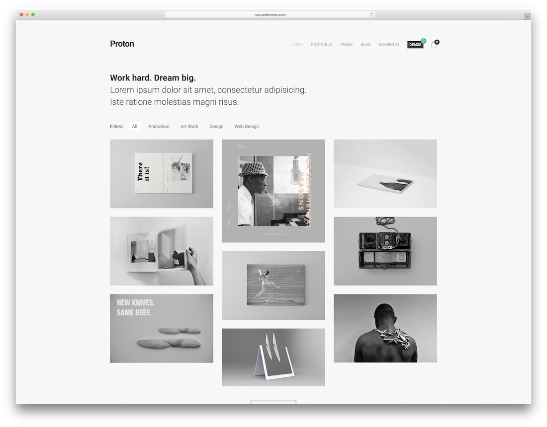 proton minimalist wordpress theme
