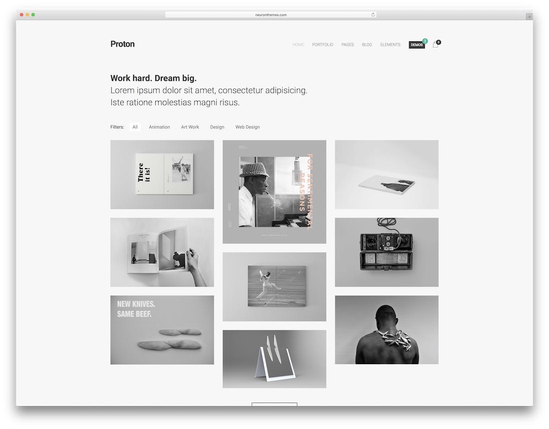 proton minimalist wordpress theme