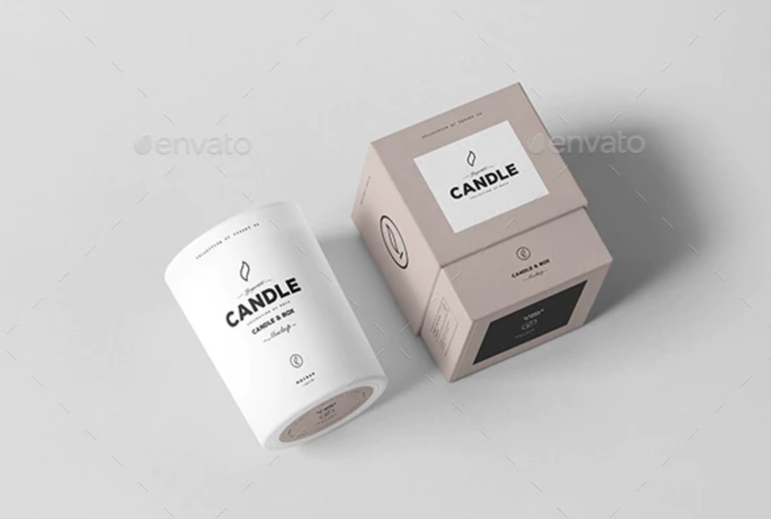 psd candle box mockup