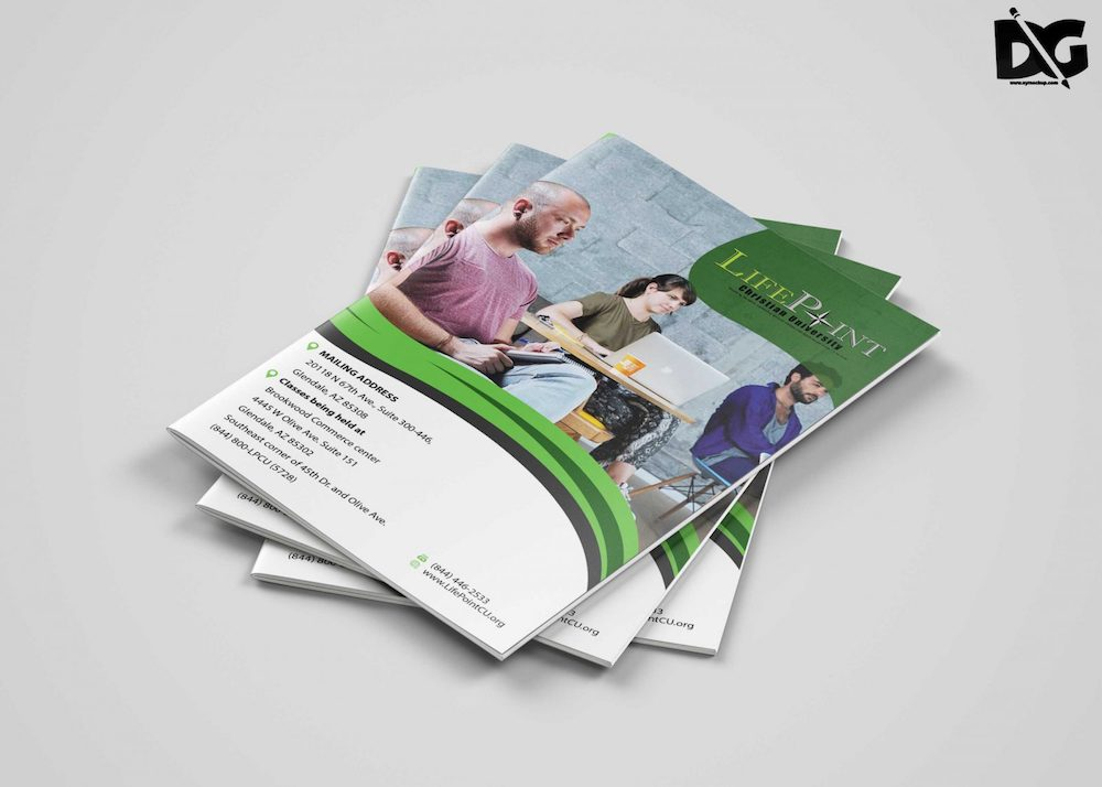 psd university bi-fold brochure template