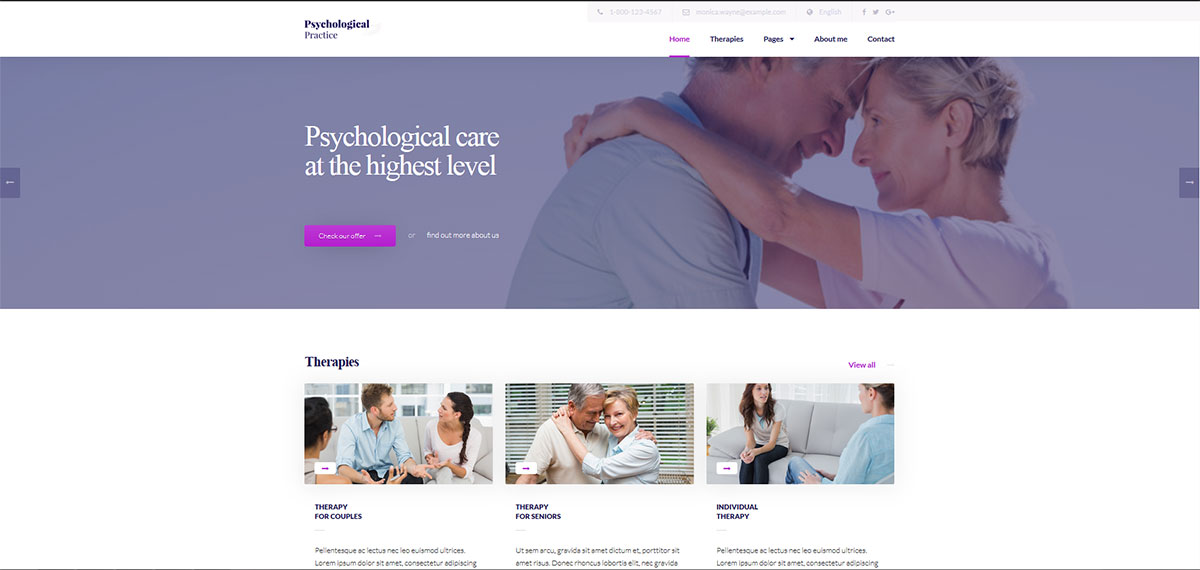 WordPress theme for Psychological Practice, Psychologist and Psychiatrist