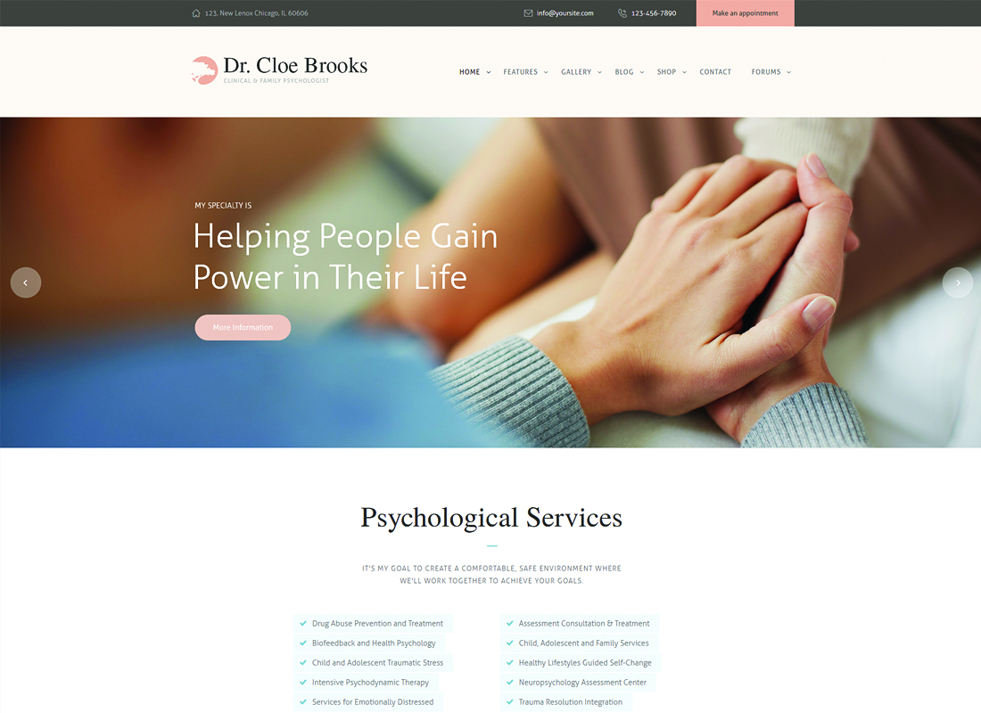 Cloe Brooks - Psychology, Counseling & Medical WordPress Theme + RTL