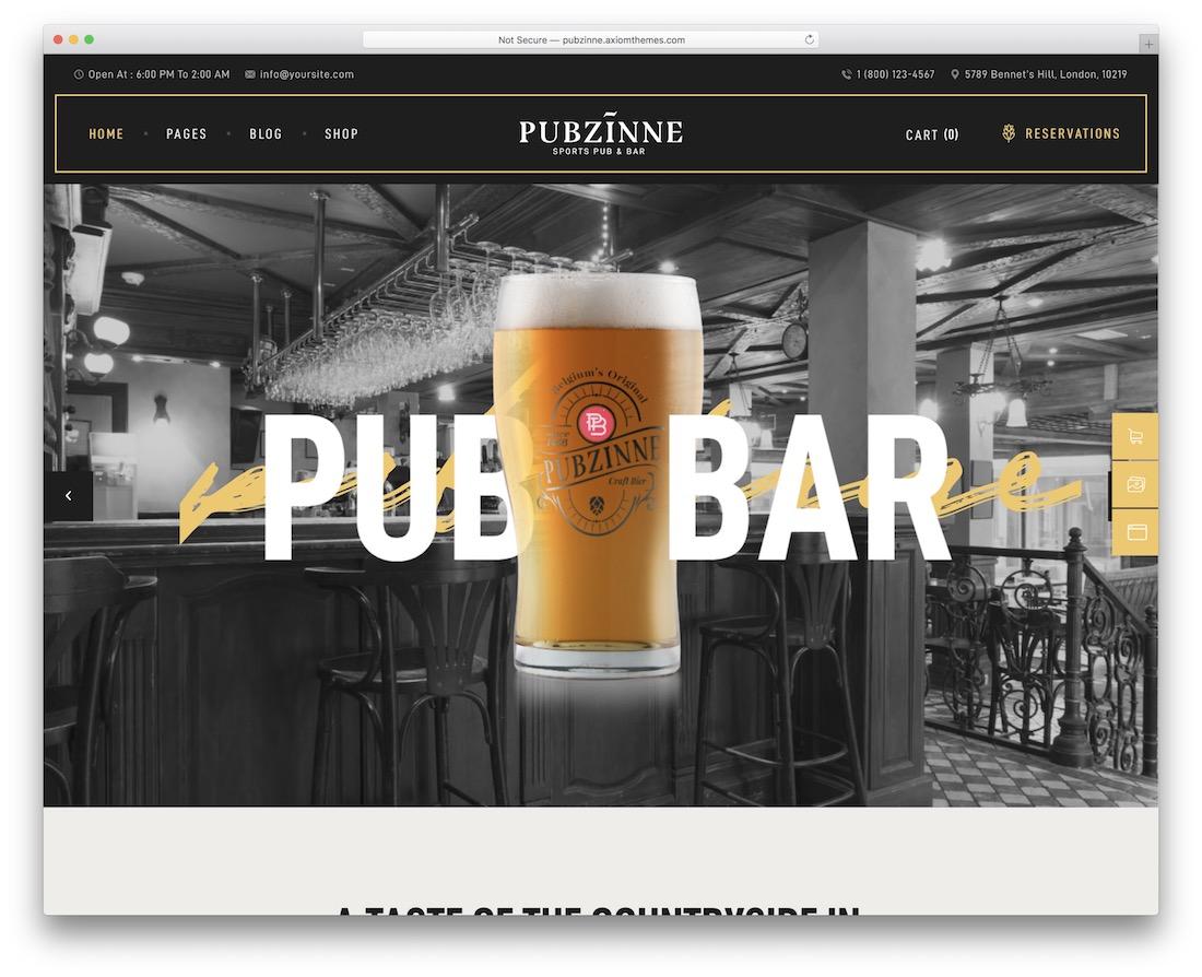 pubzinne brewery website template