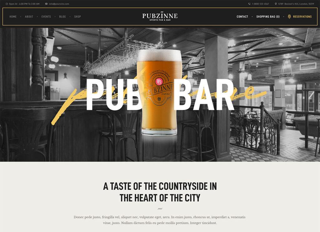 Pubzinne | Sports Bar WordPress Theme