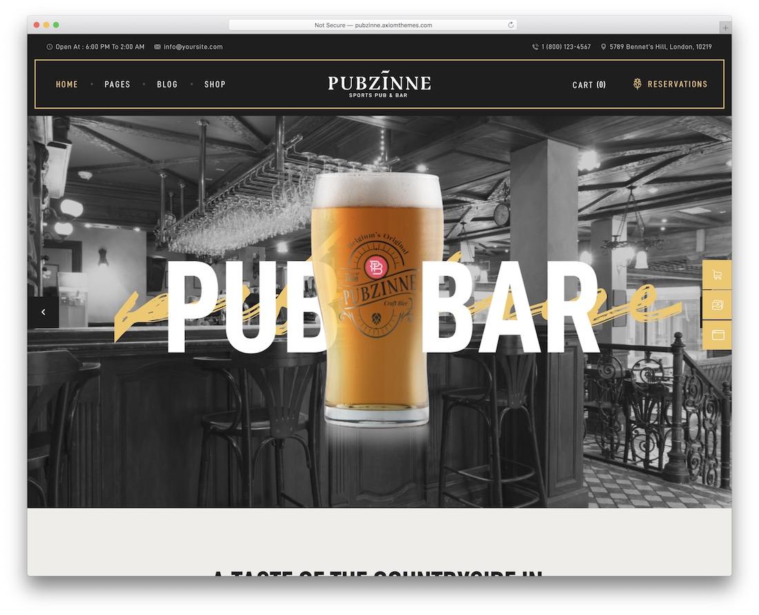 pubzinne wordpress theme for pubs