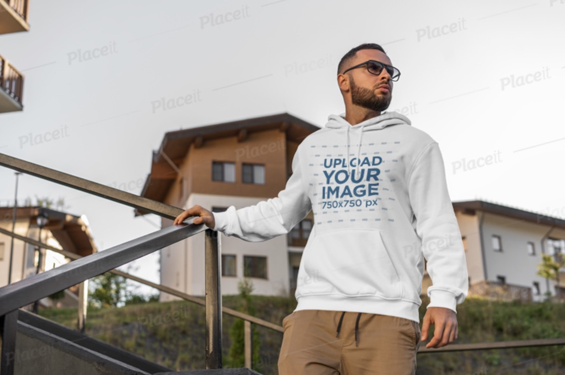 pullover hoodie mockup featuring a man with sunglasses