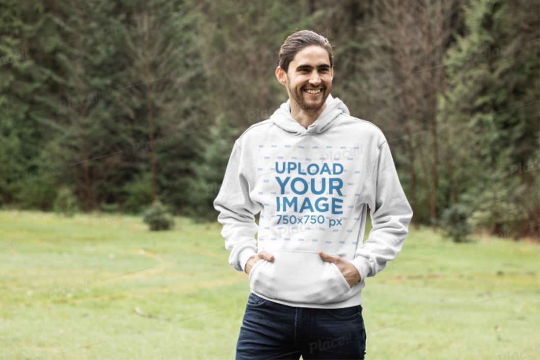 pullover hoodie mockup of a smiling man outdoor