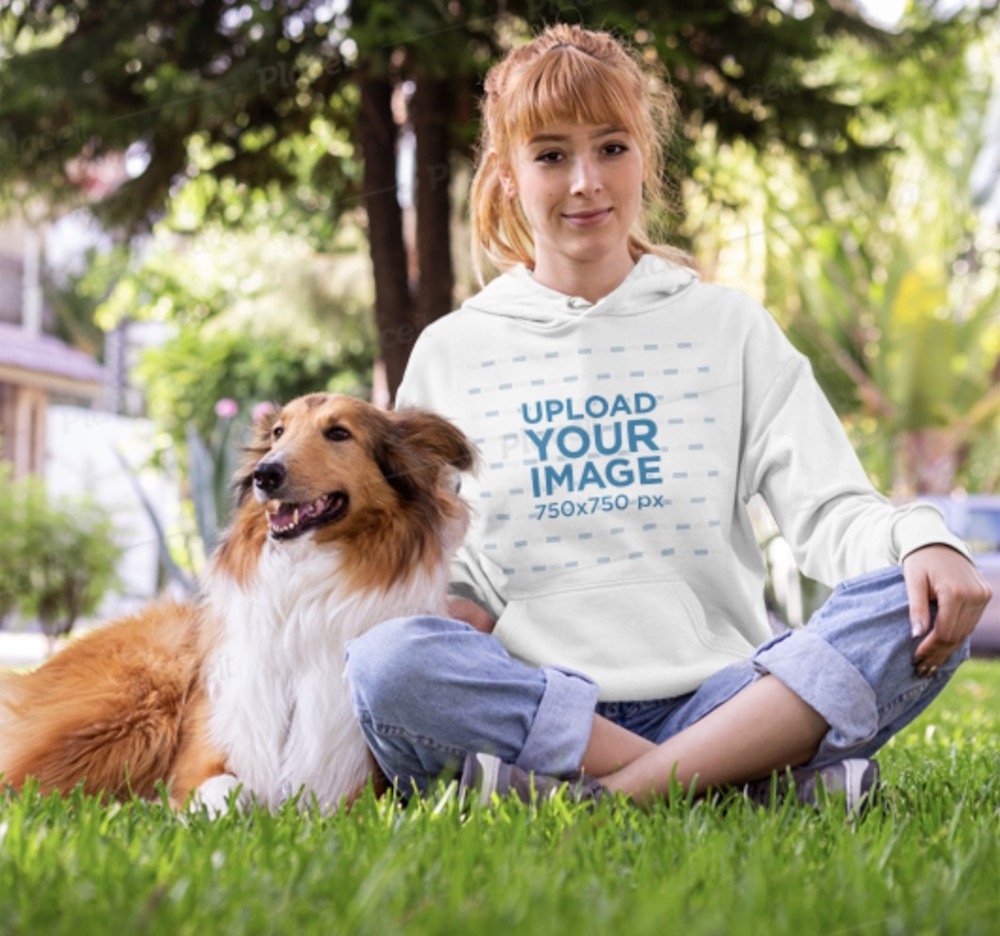 pullover hoodie mockup of a woman with a dog in a park