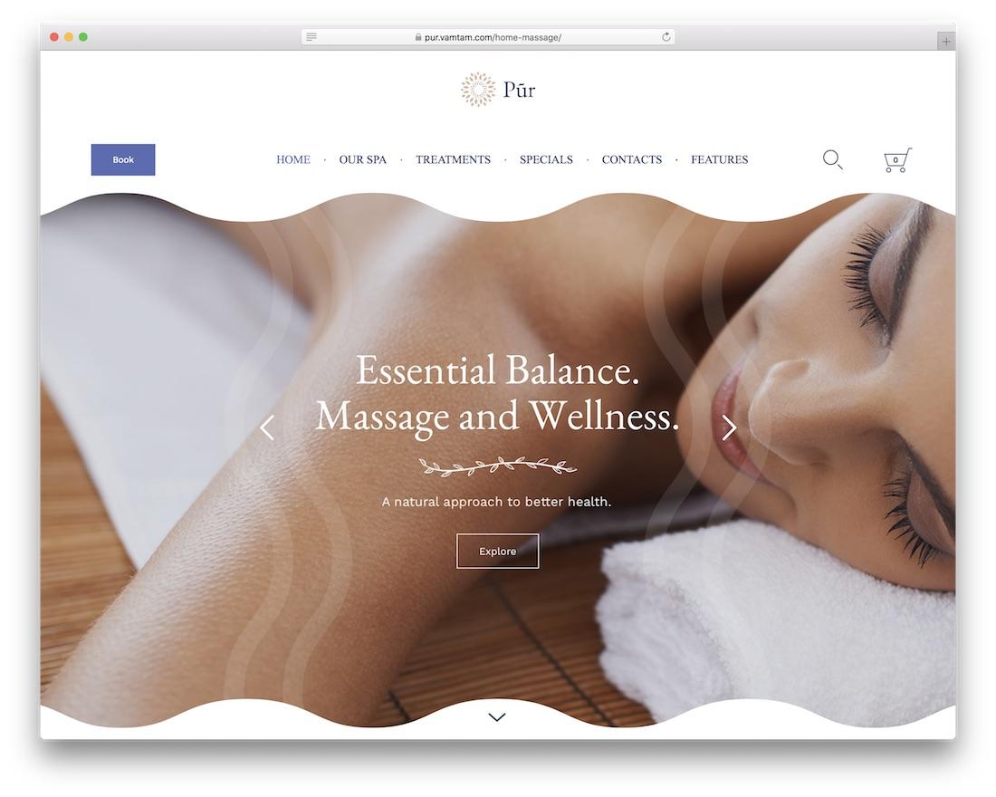pur spa massage salon wordpress theme