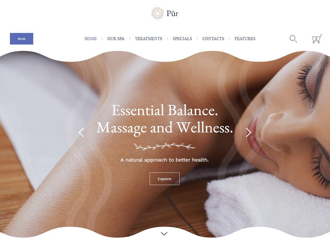 Pur | Spa Massage WordPress