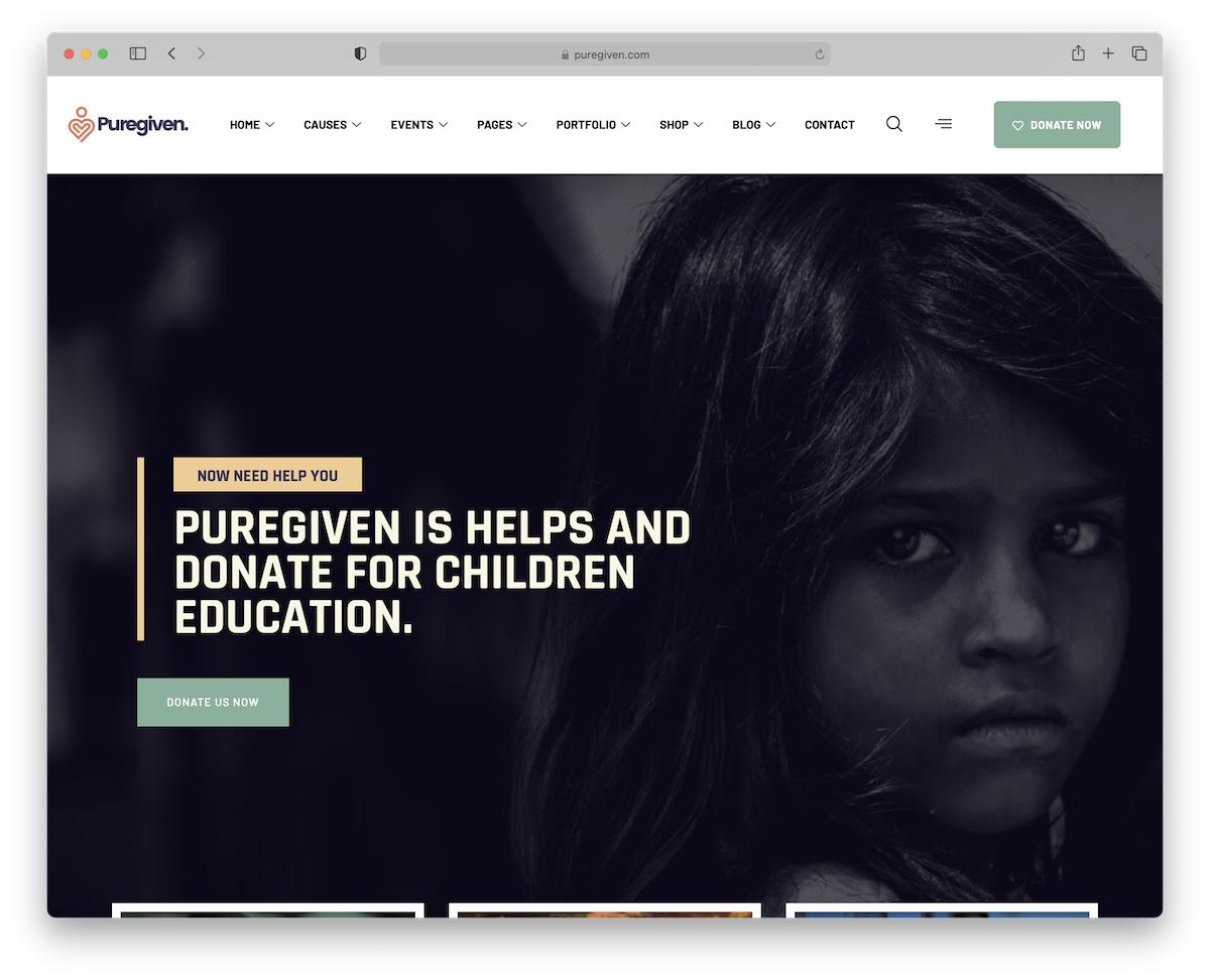 puregiven non-profit charity wordpress theme