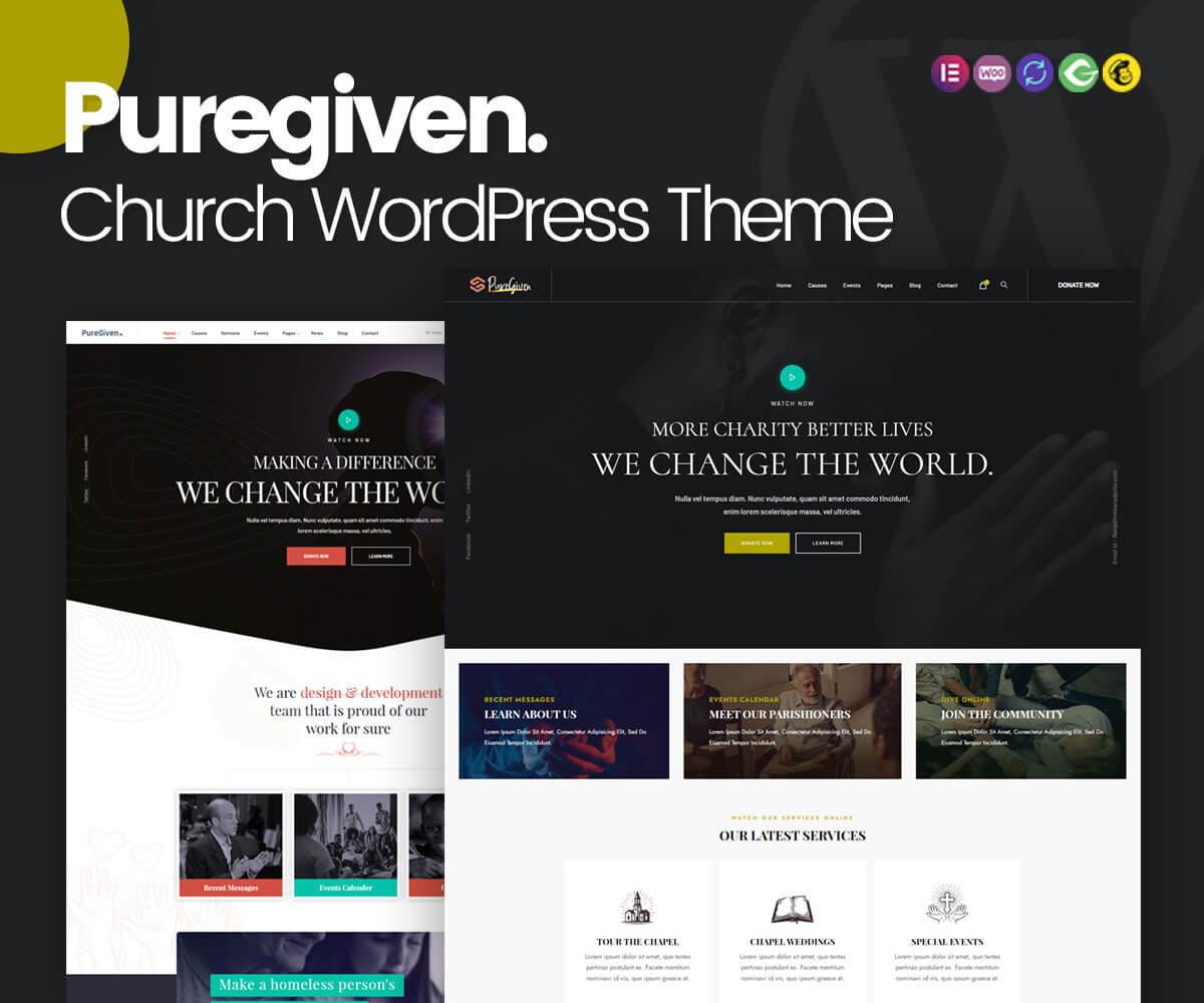 puregiven church WordPress theme