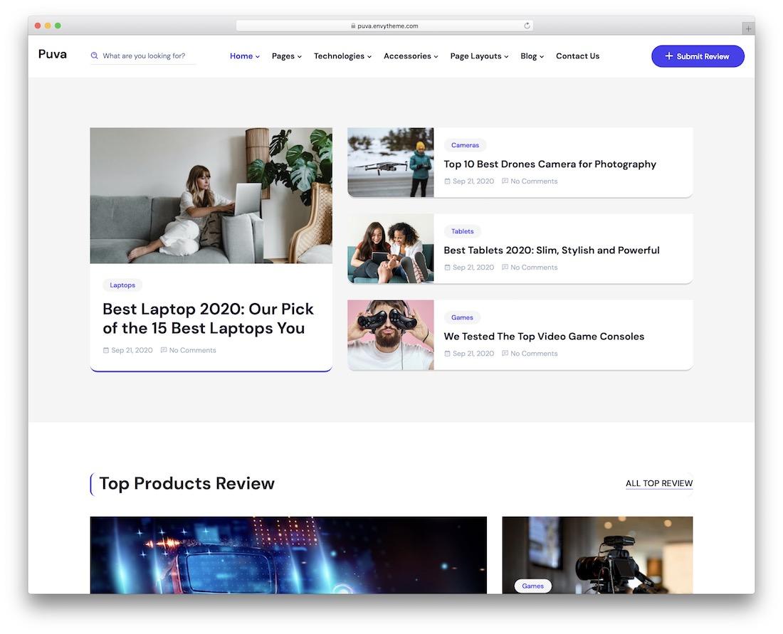 puva wordpress review theme