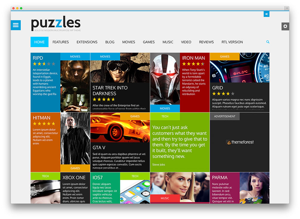 puzzles - flat design WordPress theme