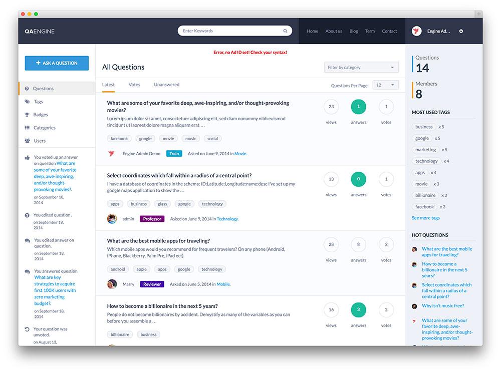 qaengine tech support wordpress theme