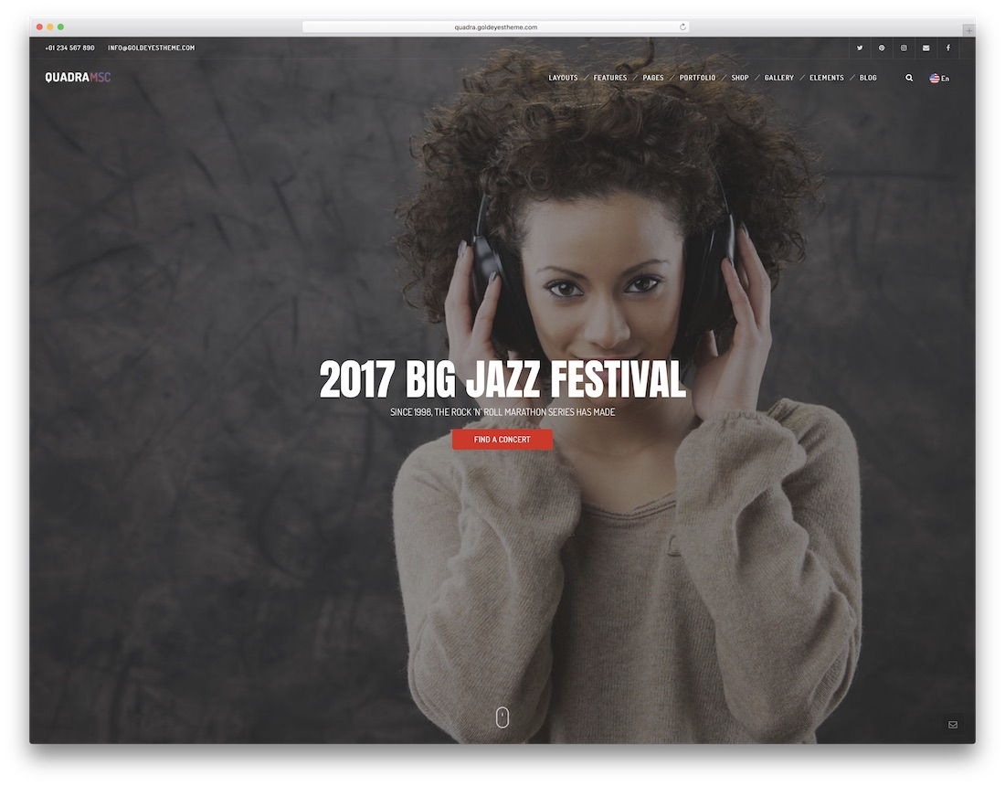 quadra musician website template