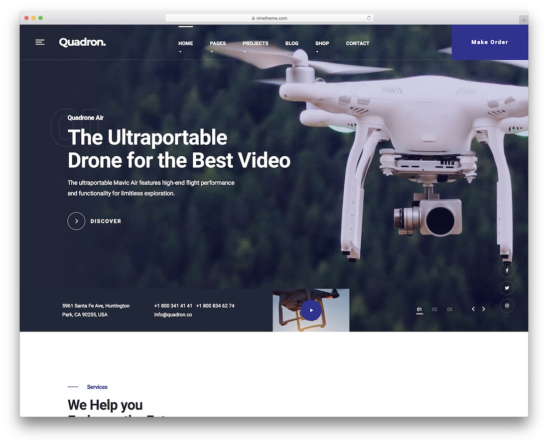 quadron video website template