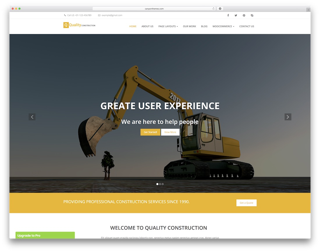 quality construction free website template