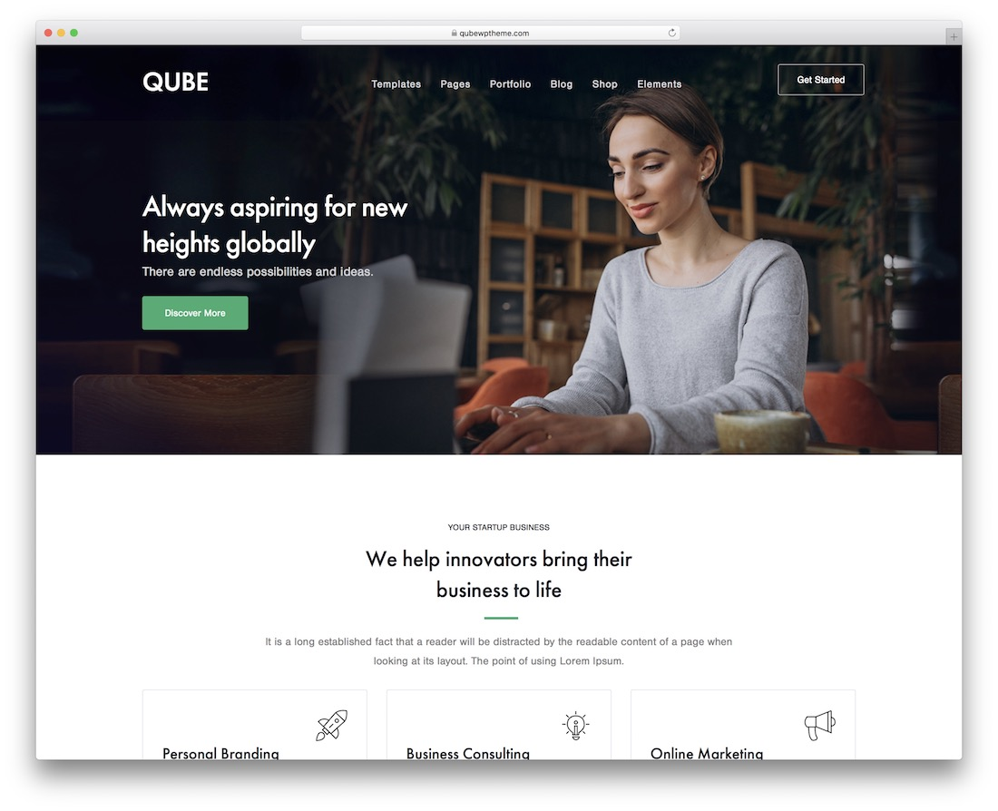 qube customizable wordpress theme