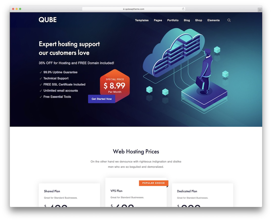 qube hosting wordpress theme