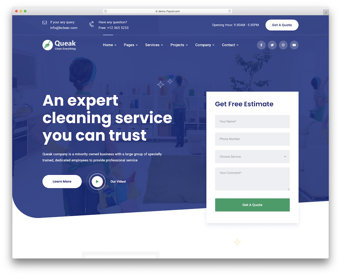 queak cleaning company theme