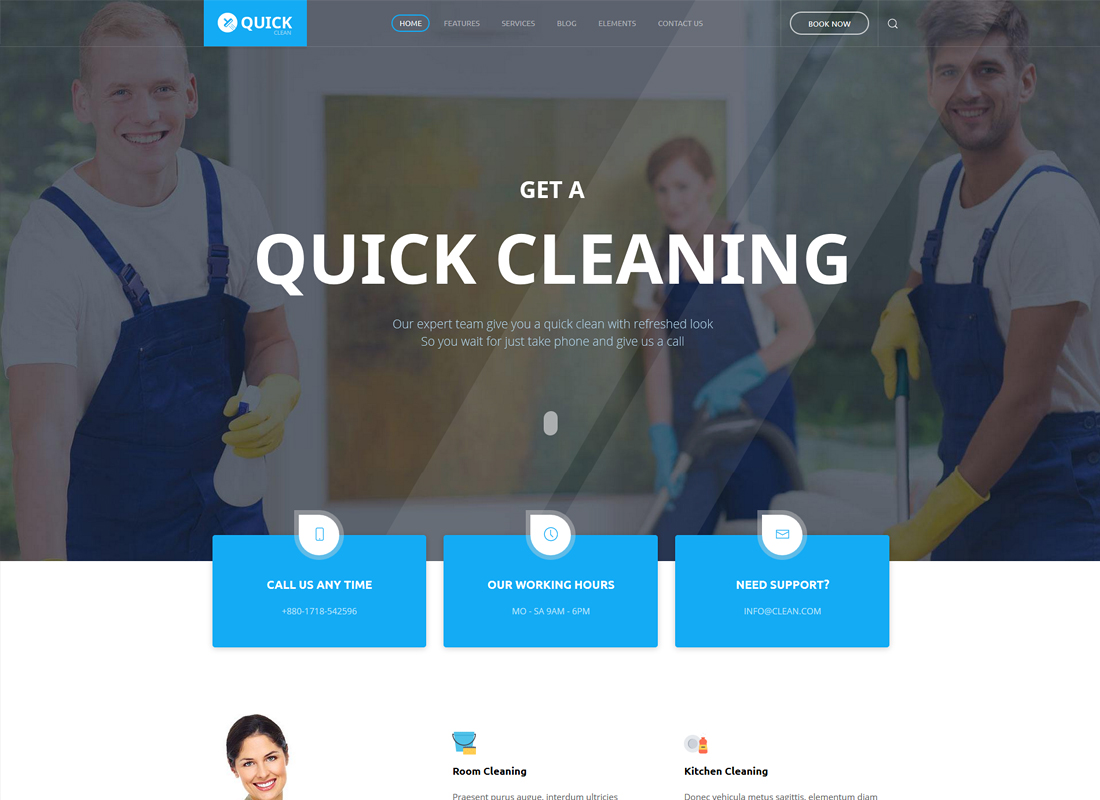 Quick - Cleaning Service WordPress Theme
