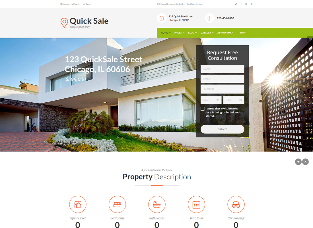 Quick Sale   Single Property Real Estate WordPress Theme