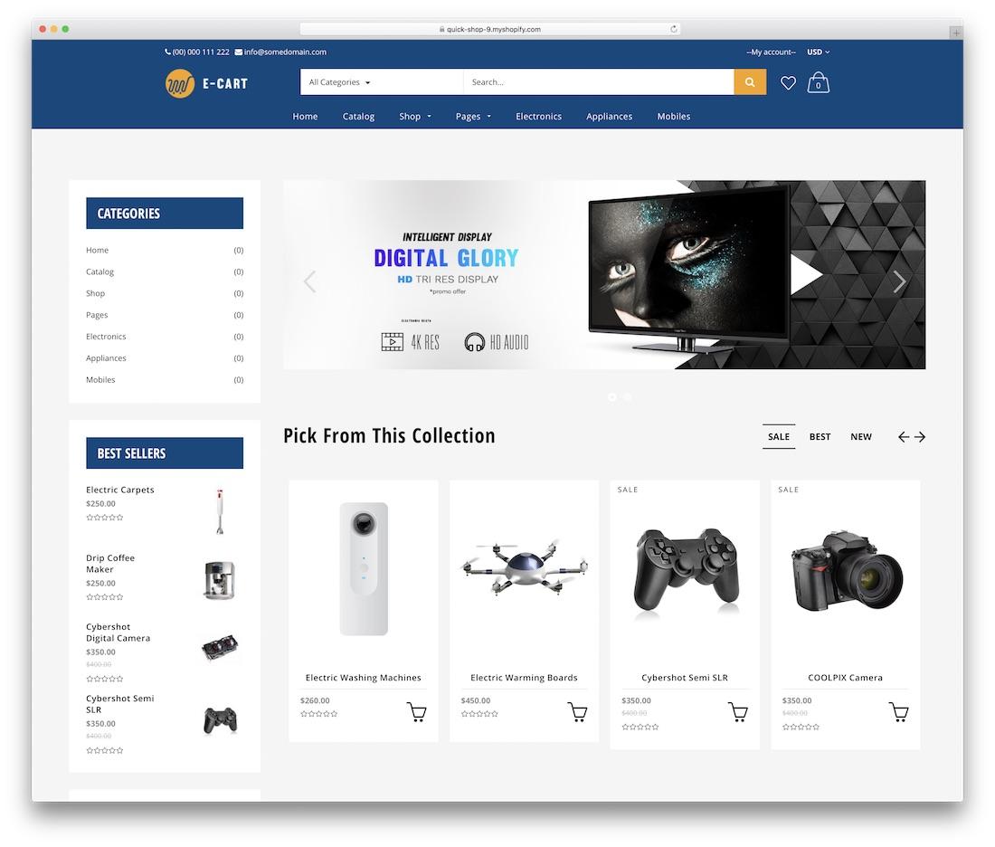 quick shop shopify technology theme