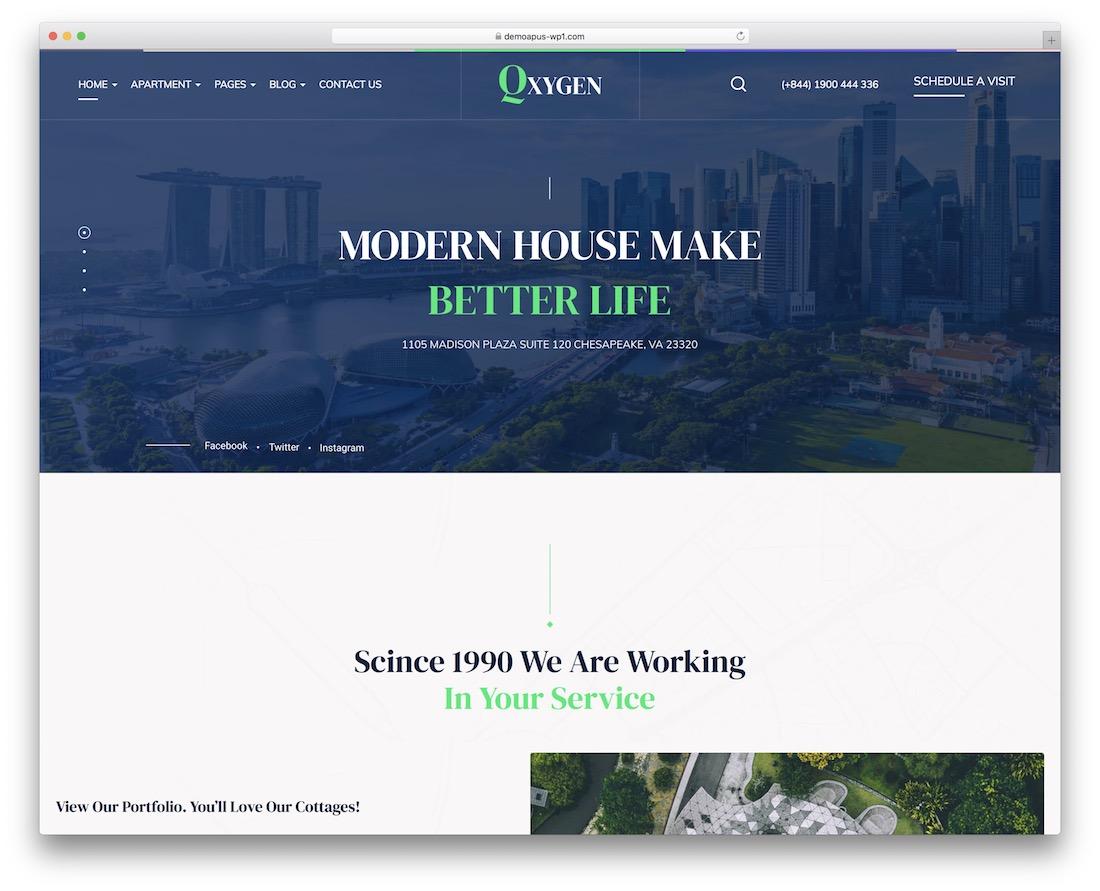 qxygen property rental wordpress theme