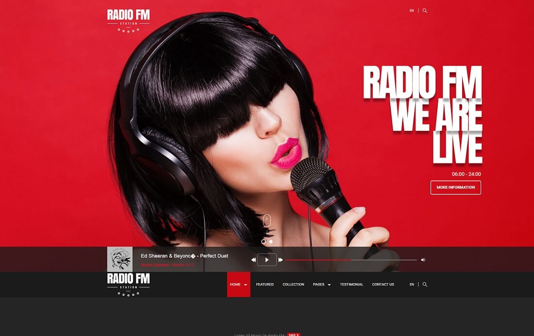 radio fm musician website template