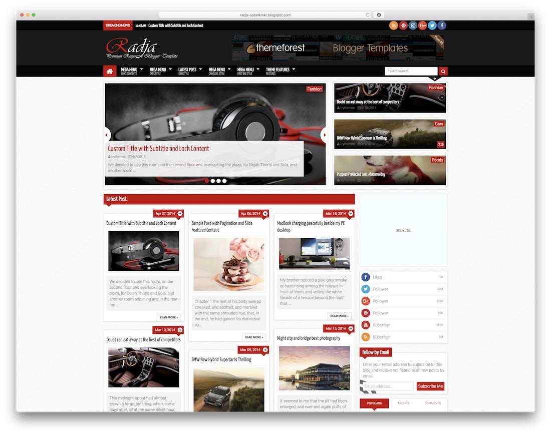 radja free blogger template