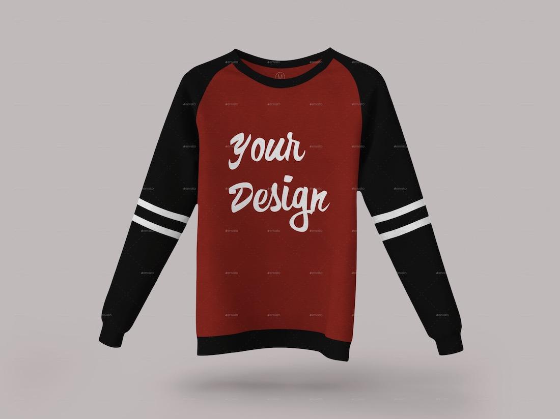 raglan sweatshirt mockup