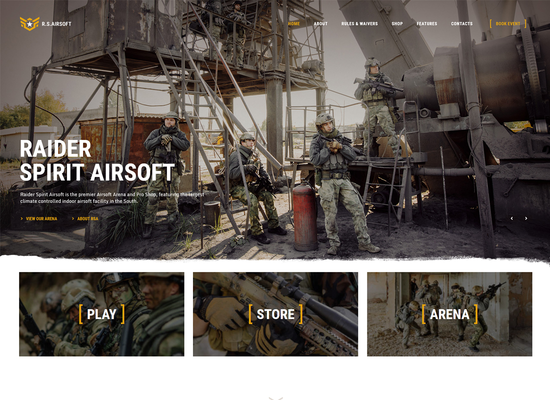 Raider Spirit - Airsoft Club & Paintball WordPress Theme