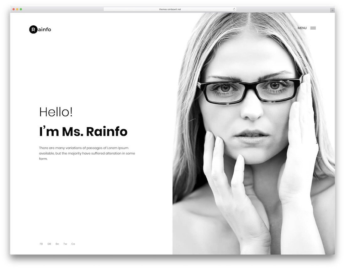 rainfo minimal website template