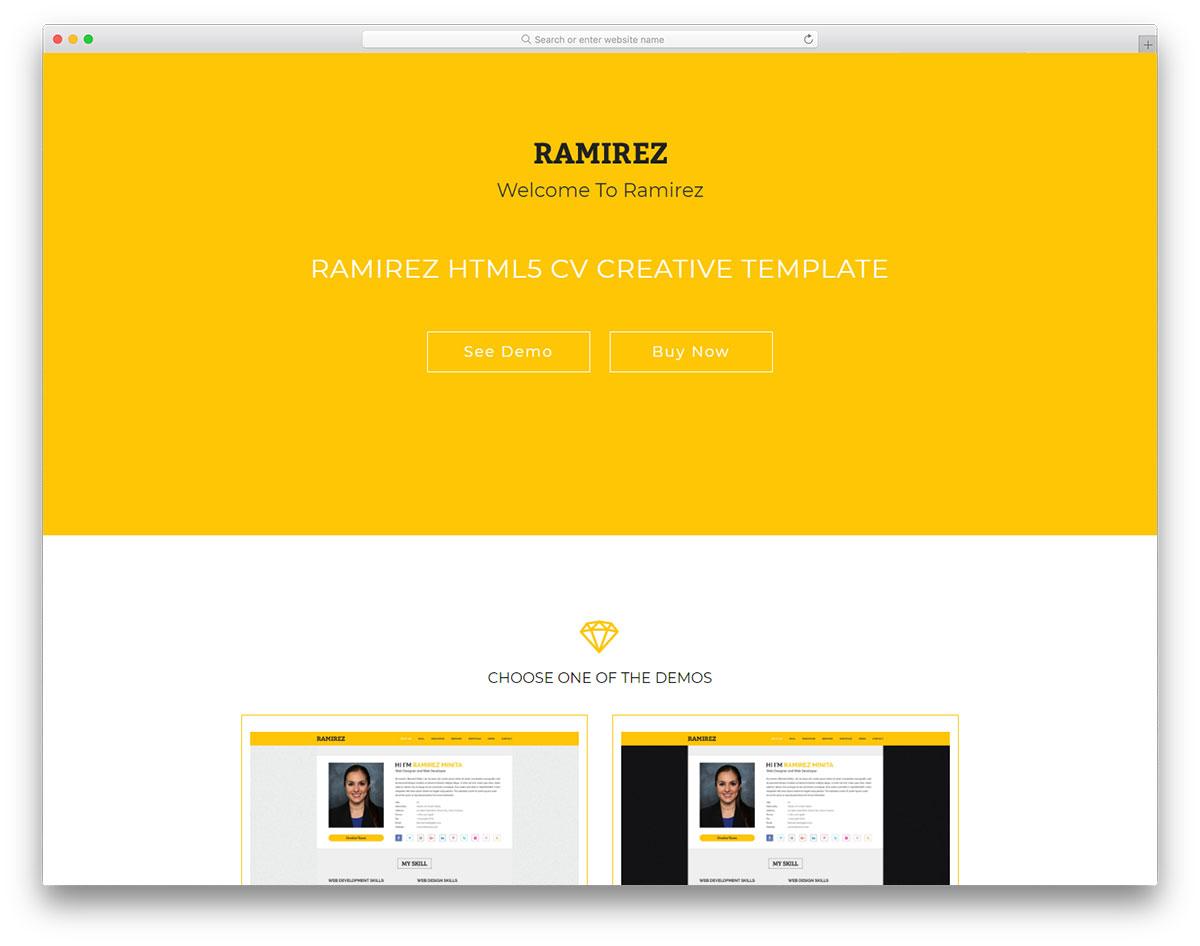 ramirez - free resume website template