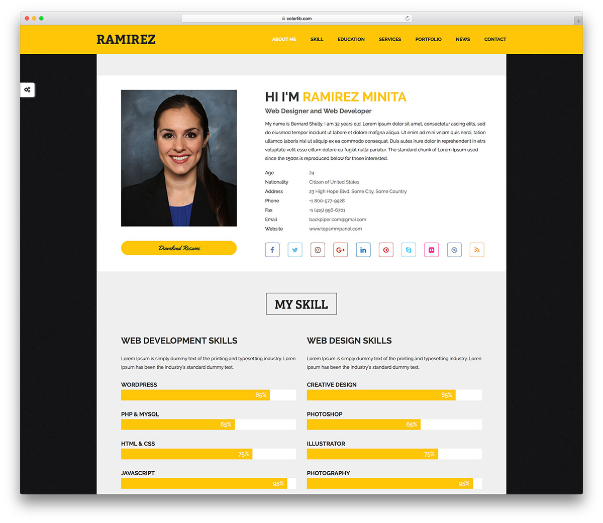as the name implies this template is a best fit for graphic designer it is a modern looking personal website template with trendy fonts