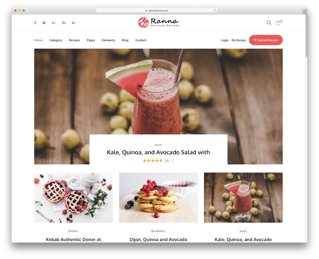 ranna food wordpress theme