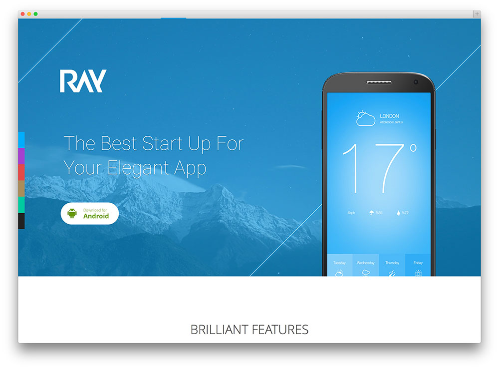 ray simple app landing page theme