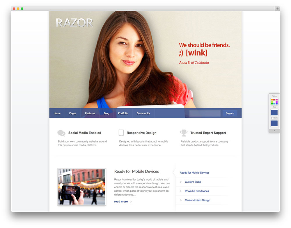 razor buddypress community theme