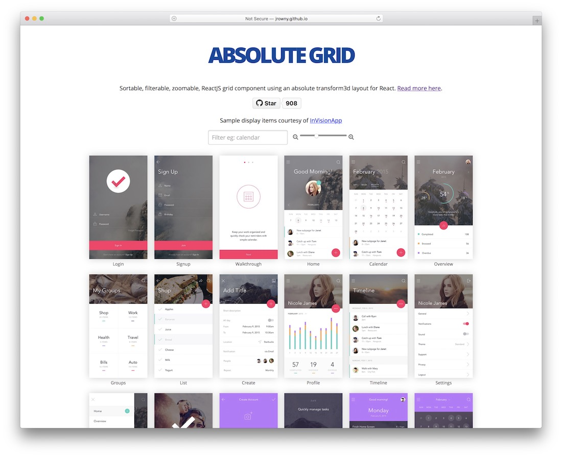 react absolute grid