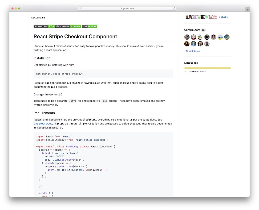 react stripe checkout component