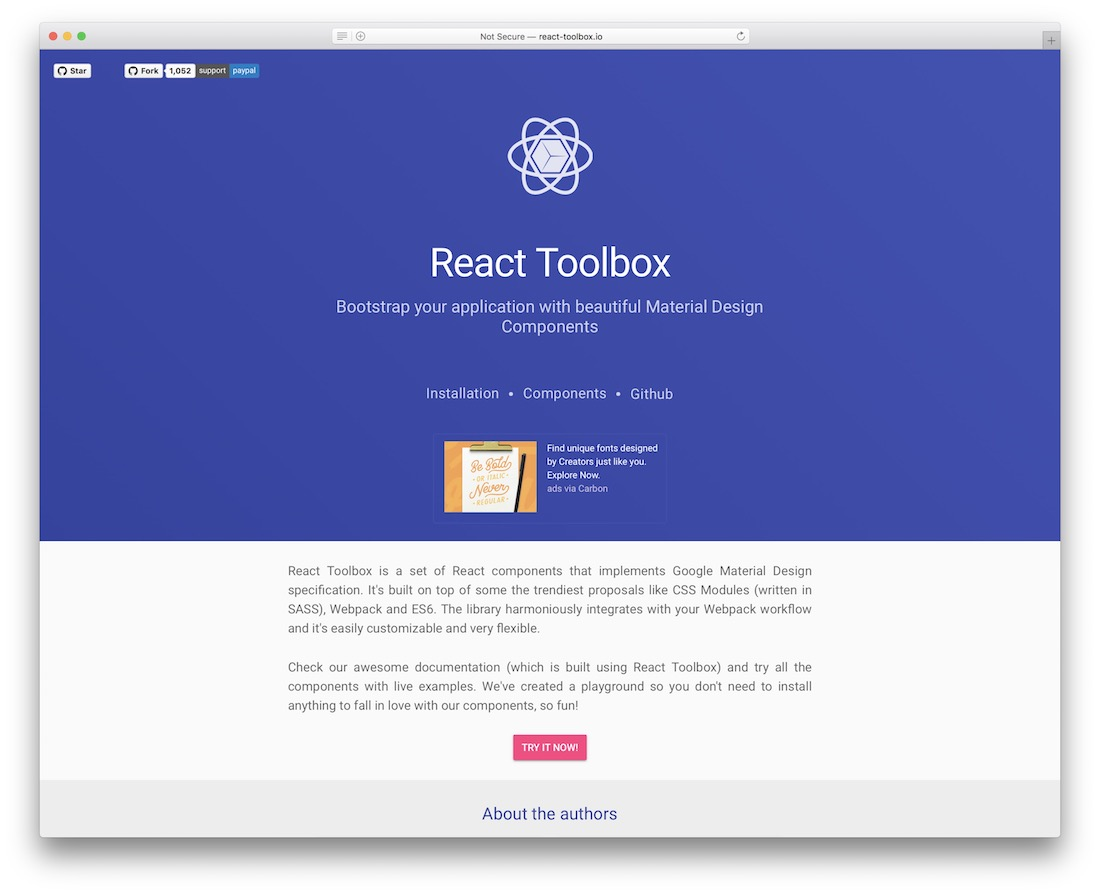 react toolbox components