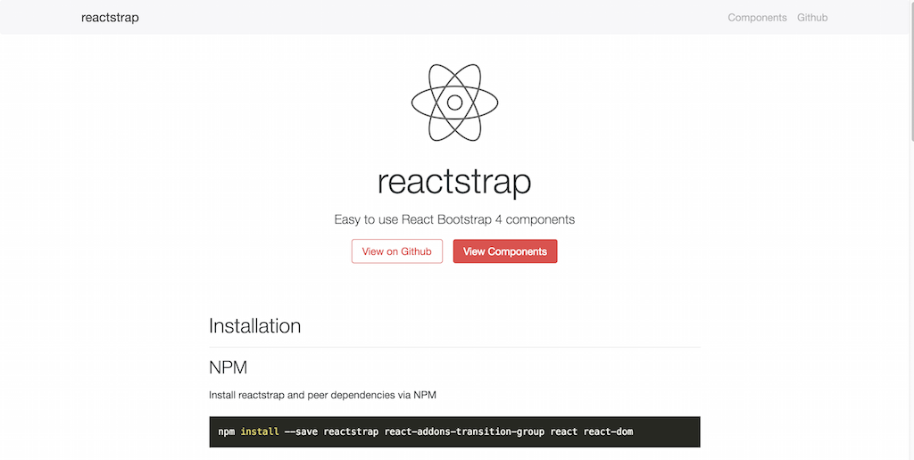 reactstrap React Bootstrap 4 components